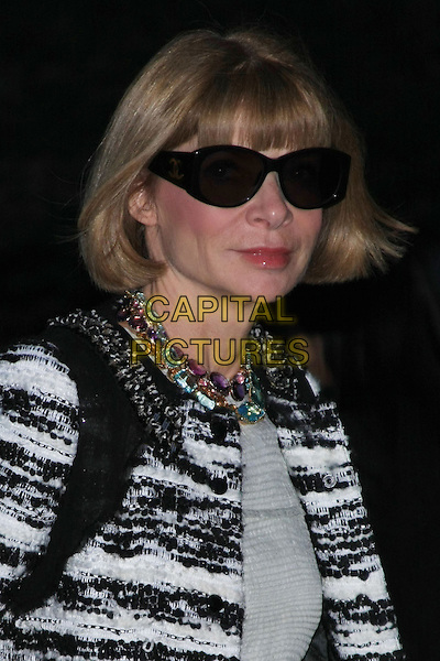 ANNA WINTOUR.Attend the 9th Annual Tribeca Film Festival Vanity Fair Party held at the New York State Supreme Courthouse, New York, NY, USA.              .headshot portrait black white grey gray pattern coat jacket sunglasses shades beads necklaces knitted.CAP/LNC.©TOM/LNC/Capital Pictures.