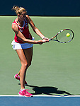 Karolina Pliskova (CZE) during the final against Angelique Kerber (GER) at the Bank of the West Classic in Stanford, CA on August 9, 2015. Kerber won her first Bank of the West Classic after defeating Plliskova by 63 57 64.