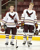 Taylor Licolli (BC - 7), Chris Cobb (BC - 4) - The Boston College Eagles defeated the Bryant University Bulldogs 2-1 on Saturday, December 11, 2010, at Conte Forum in Chestnut Hill, Massachusetts.