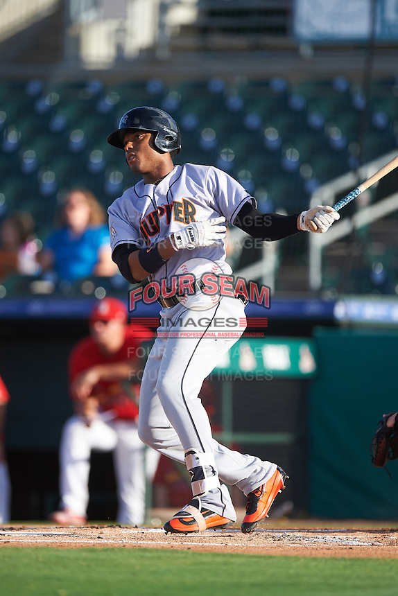 Jupiter Hammerheads right fielder John Norwood (22) at bat during a game against the Palm Beach Cardinals on August 12, 2016 at Roger Dean Stadium in Jupiter, Florida.  Jupiter defeated Palm Beach 9-0.  (Mike Janes/Four Seam Images)