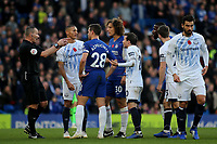 Both sets of players contest a decision by referee, Kevin Friend during Chelsea vs Everton, Premier League Football at Stamford Bridge on 11th November 2018