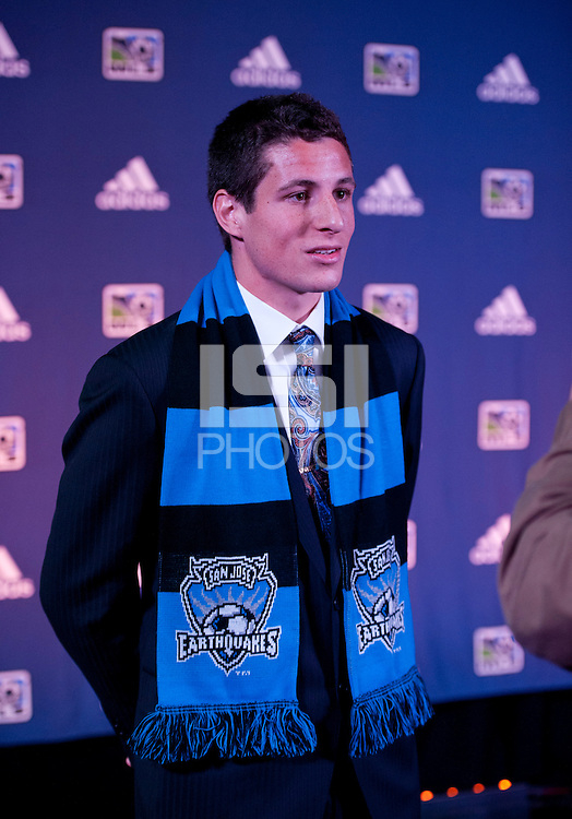 #9 overall pick JJ Koval of the San Jose Earthquakes talks to the media during the MLS SuperDraft at the Pennsylvania Convention Center in Philadelphia, PA, on January 16, 2014.
