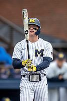 Michigan Wolverines shortstop Jack Blomgren (2) at the plate against the Rutgers Scarlet Knights on April 27, 2019 in the NCAA baseball game at Ray Fisher Stadium in Ann Arbor, Michigan. Michigan defeated Rutgers 10-1. (Andrew Woolley/Four Seam Images)
