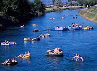 Floating on the Okanagan River Channel, Penticton, BC, South Okanagan Valley, British Columbia, Canada