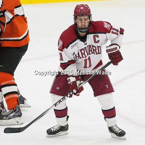 Kyle Criscuolo (Harvard - 11) - The Harvard University Crimson defeated the visiting Princeton University Tigers 5-0 on Harvard's senior night on Saturday, February 28, 2015, at Bright-Landry Hockey Center in Boston, Massachusetts.
