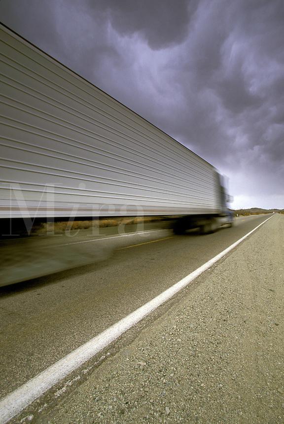 Semi-Truck.  Highway 95, California.