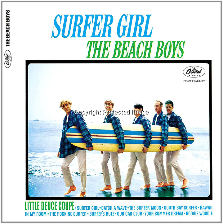 BNPS.co.uk (01202 558833)<br /> Pic: RockawayRecords/BNPS<br /> <br /> ****Please use full byline****<br /> <br /> Surfer Girl album cover.<br /> <br /> A surfboard belonging to legendary Beach Boys drummer Dennis Wilson which featured on the covers of two of their most famous albums has emerged for sale for &pound;100,000.<br /> <br /> The iconic blue and yellow board was used for the cover of the Beach Boys' groundbreaking debut album, 1962's Surfin' Safari, and again in 1963 on the front of Surfer Girl.<br /> <br /> Wilson, the band's only surfer, brought the 9ft board along to the band's first ever professional photo shoot held on a beach in California in 1962 shortly after they signed with Capitol Records.<br /> <br /> The five members - Brian, Dennis and Carl Wilson, their cousin Mike Love and friend Al Jardine - were snapped holding it while striking various poses on a beach. The photos from the session went on to become some of the most iconic images of the band.<br /> <br /> Wilson gave the board to his close friend Louis Marotta in the 1970s who in turn passed it on to Beach Boys fan Bob Stafford in 1985.<br /> <br /> Mr Stafford is now selling the board with a whopping price tag of &pound;100,000 after a short stint on display at the Grammy Museum in Los Angeles to mark the band's 50th anniversary.