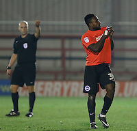 Brighton's Kazenga Lua Lua gestures to the crowd as he leaves the pitch during the The Checkatrade Trophy match between AFC Wimbledon and Brighton & Hove Albion Under 21s at the Cherry Red Records Stadium, Kingston, England on 6 December 2016. Photo by Carlton Myrie / PRiME Media Images