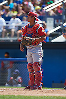 Williamsport Crosscutters catcher Gregori Rivero (26) during a game against the Batavia Muckdogs on July 16, 2015 at Dwyer Stadium in Batavia, New York.  Batavia defeated Williamsport 4-2.  (Mike Janes/Four Seam Images)