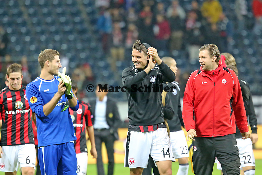 Siegesjubel Eintracht Frankfurt  mit Alex Meier, Kevin Trapp und Marco Russ - Eintracht Frankfurt vs. Macabi Tel Aviv, Europa League 3. Spieltag
