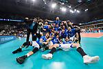 24.02.2019, SAP Arena, Mannheim<br /> Volleyball, DVV-Pokal Finale, VfB Friedrichshafen vs. SVG LŸneburg / Lueneburg<br /> <br /> Jubel Friedrichshafen nach Sieg <br /> <br />   Foto © nordphoto / Kurth