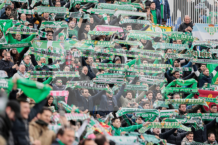 Real Betis Balompie's fans during La Liga match between CD Leganes and Real Betis Balompie at Butarque Stadium in Madrid, Spain. February 10, 2019. (ALTERPHOTOS/A. Perez Meca)