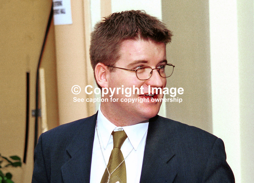 Brendan Hannigan, diplomat, Irish Embassy, London. Taken at Conservative Party Conference, Blackpool. Ref: 199910206..Copyright Image from Victor Patterson, 54 Dorchester Park, Belfast, UK, BT9 6RJ..Tel: +44 28 9066 1296.Mob: +44 7802 353836.Voicemail +44 20 8816 7153.Skype: victorpattersonbelfast.Email: victorpatterson@mac.com.Email: victorpatterson@ireland.com (back-up)..IMPORTANT: If you wish to use this image or any other of my images please go to www.victorpatterson.com and click on the Terms & Conditions. Then contact me by email or phone with the reference number(s) of the image(s) concerned.