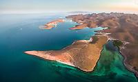 aerial view of bay of La Paz coast near Playa el Tesoro, La Paz, Baja California Sur, Mexico, Gulf of California, Sea of Cortez, Pacific Ocean