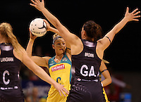 20.10.2015 Australia's Kim Ravaillion in action during the Silver Ferns v Australian Diamonds netball test match played ay Horncastle Arena in Christchruch. Mandatory Photo Credit ©Michael Bradley.