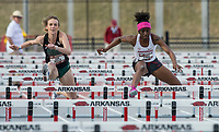 NWA Democrat-Gazette/BEN GOFF @NWABENGOFF<br /> Leah Molter (left) of Oklahoma Baptist and G'Auna Edwards of Arkansas run in the women's 100 meter dash Friday, April 12, 2019, at the John McDonnell Invitational at John McDonnell field in Fayetteville.