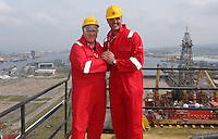 JOHANN MULLER VISITS HARLAND &amp; WOLFF BELFAST -    Wednesday 30th April 2014<br /> <br /> John Dickson and Johann Muller on top of the Samson crane during their Harland &amp; Wolff shipyard in Belfast.<br /> <br /> Mandatory Credit - Photo by Mariska Muller  - DICKSONDIGITAL