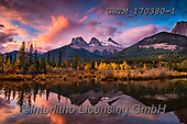 Tom Mackie, LANDSCAPES, LANDSCHAFTEN, PAISAJES, photos,+Banff National Park, Bow River, Canada, Canadian, North America, Three Sisters, Tom Mackie, USA, atmospheric, autumn, autumna+l, cloud, clouds, cloudscape, fall, horizontal, horizontals, landscape, landscapes, mood, moody, mountain, mountainous, mount+ains, national park, no people, peace, peaceful, peak, reflecting, reflection, reflections, rocky, scenery, scenic, season, s+unrise, sunset, time of day, tranquil, tranquility, water, water's edge, weather,Banff National Park, Bow River, Canada, Cana+,GBTM170380-1,#l#, EVERYDAY