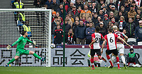 Southampton supporters look on as Marko Arnautovic of West Ham United scores his second goal during the EPL - Premier League match between West Ham United and Southampton at the Olympic Park, London, England on 31 March 2018. Photo by Andy Rowland.