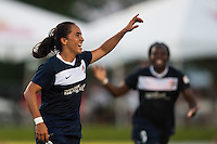 Sky Blue FC forward Monica Ocampo (8) celebrates scoring. Sky Blue FC defeated the Washington Spirit 1-0 during a National Women's Soccer League (NWSL) match at Yurcak Field in Piscataway, NJ, on July 6, 2013.