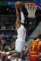 Real Madrid´s Marcus Slaughter during 2014-15 Euroleague Basketball match between Real Madrid and Galatasaray at Palacio de los Deportes stadium in Madrid, Spain. January 08, 2015. (ALTERPHOTOS/Luis Fernandez) /NortePhoto /NortePhoto.com