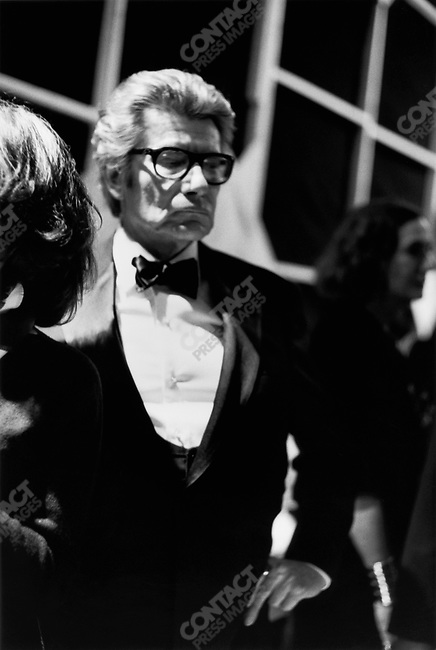 Yves Saint Laurent, fashion designer, presenting his last collection, Paris, France, January 22, 2002