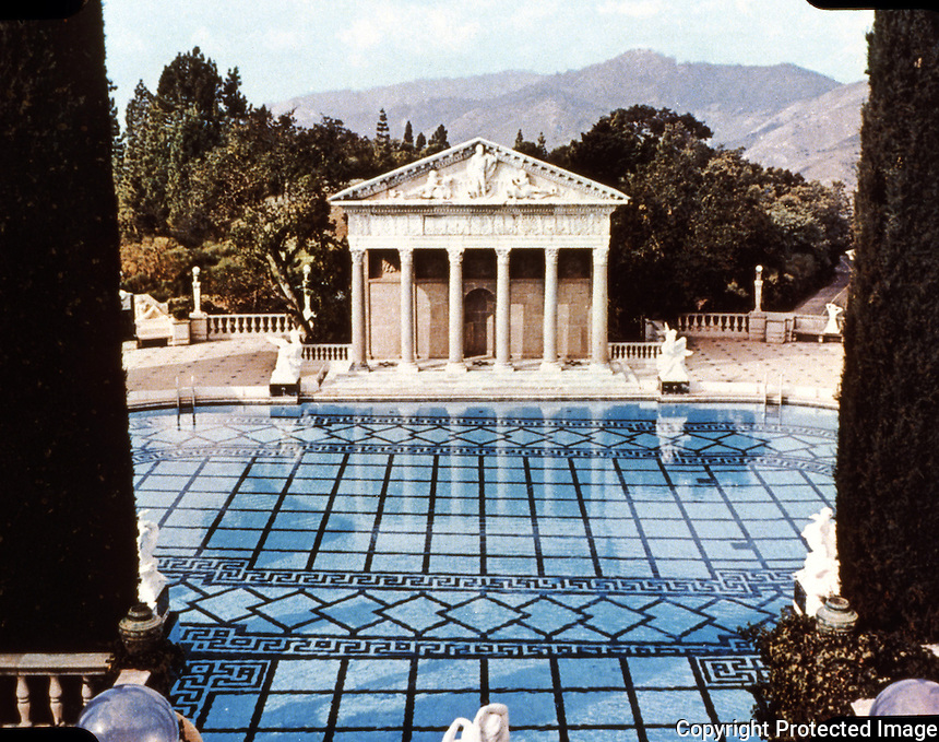 Hearst Castle: Overlooking Neptune Pool.  (Finley-Holiday Films)
