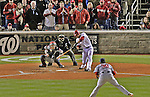 12 October 2012: Washington Nationals shortstop Ian Desmond at bat during Postseason Playoff Game 5 of the National League Divisional Series against the St. Louis Cardinals at Nationals Park in Washington, DC. The Cardinals stunned the home team with a four-run rally in the 9th inning to defeat the Nationals 9-7 and win the NLDS, moving on to the NL Championship Series. Mandatory Credit: Ed Wolfstein Photo