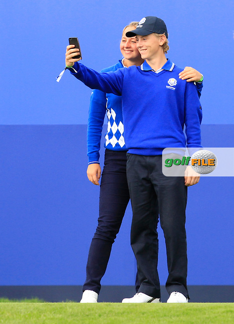 Europe Jr Ryder Cup players take a selfie during Practice on Wednesday at the 40th Ryder Cup, The Gleneagles Hotel, Perthshire from 26th to 28th September 2014<br /> Picture Thos Caffrey, www.golffile.ie