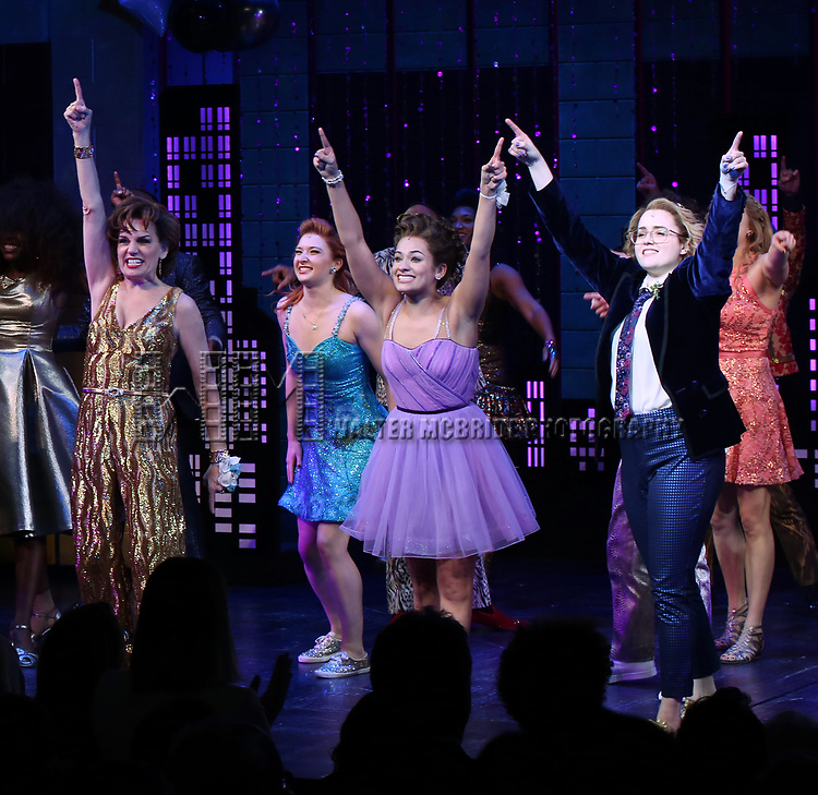 """Beth Leavel, Isabelle McCalla and Caitlin Kinnunen during the Broadway Opening Night Curtain Call of """"The Prom"""" at The Longacre Theatre on November 15, 2018 in New York City."""