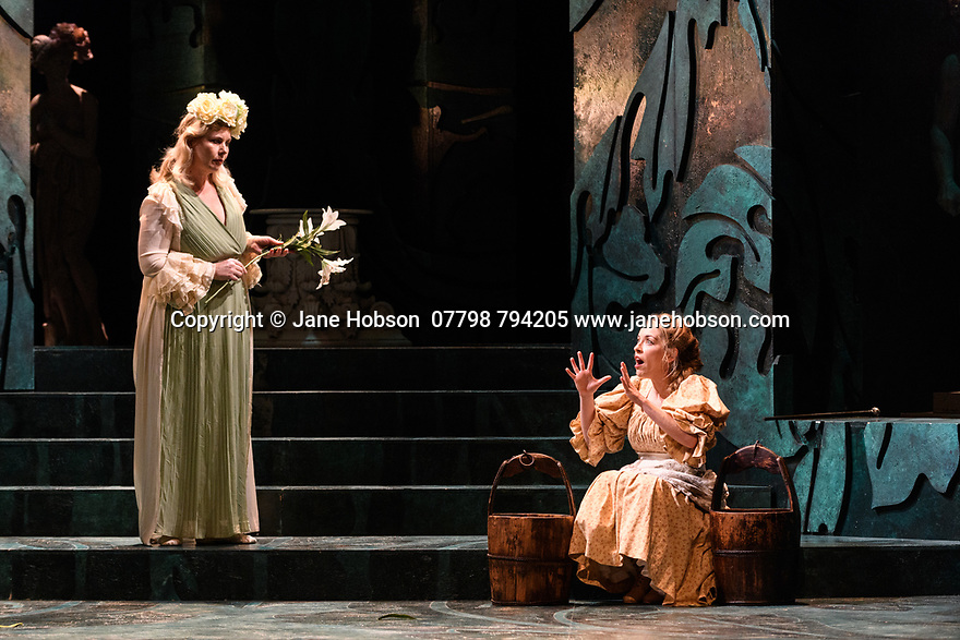 English Touring Opera presents PATIENCE, by Gilbert & Sullivan, at the Hackney Empire, prior to its UK tour. Picture shows: Gaynor Keeble (Angela) and Lauren Zolezzi) (Patience).