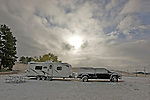 A snowy morning for an RV in the Wildcat Hills of Nebraska.