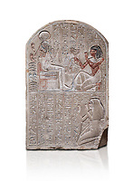 Ancient Egyptian stele dedicated to the god Khonsu by draftsman Pay, limestone, New Kingdom, 19th Dynasty, (1279-1213 BC), Deir el-Medina, ODrovetti cat 1553. Egyptian Museum, Turin. white background,