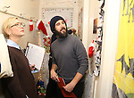 Judges: Cate Blanchett and Josh Groban during the cast of 'Hamilton' 2016 Door Decorating Competition at Richard Rodgers Theatre on December 23, 2016 in New York City.