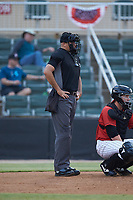 Home plate umpire Thomas O'Neil works the South Atlantic League game between the Hagerstown Suns and the Kannapolis Intimidators at Kannapolis Intimidators Stadium on August 27, 2019 in Kannapolis, North Carolina. The Intimidators defeated the Suns 5-4. (Brian Westerholt/Four Seam Images)
