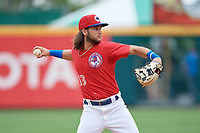 Buffalo Bisons shortstop Bo Bichette (13) throws to first base during an International League game against the Indianapolis Indians on June 20, 2019 at Sahlen Field in Buffalo, New York.  Buffalo defeated Indianapolis 11-8  (Mike Janes/Four Seam Images)