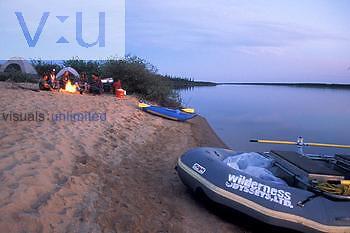 Campsite and fire, Manitoba, Canada