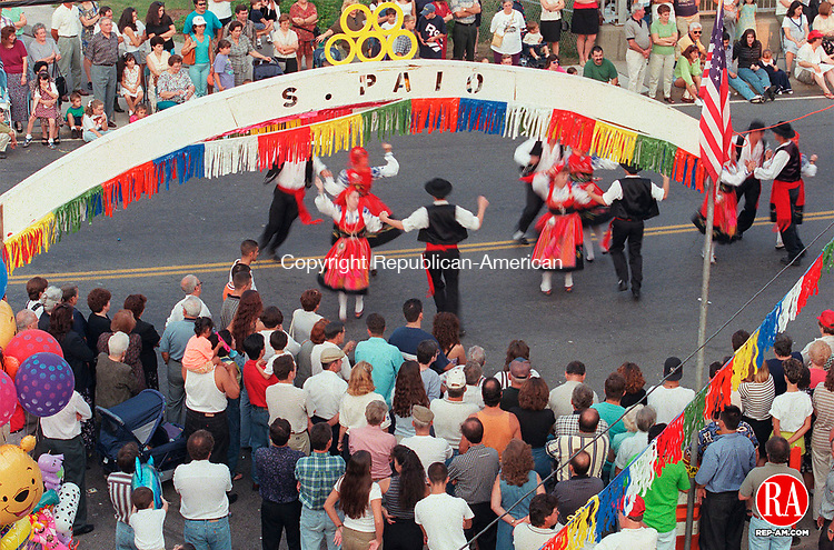 NAUGATUCK, CT.--9/6/98--0906MA05.tif--Eira, a folklore dance group from Newark, New Jersey were dancing in the streets outside of the Portuguese Club on Rubber Ave. in Naugatuck Sunday evening during the annual S. Paio celebration. MICHAEL ASARO staff photo for A-1