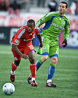 Rohan Ricketts (10) takes the ball up field during MLS action against Seattle at BMO Field in Toronto on April 4, 2009. Seattle won 2-0. .Photo by Nick Turchiaro/isiphotos.com.