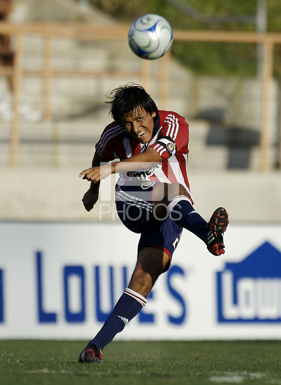 Chivas USA defender Claudio Suarez (2) sends a ball downfield. The Chivas USA and New England Revolution played to 1-1 draw during a early round match of the 2008 SuperLiga at Cal State Fullerton Titan stadium in Fullerton, California on Sunday July 20, 2008.