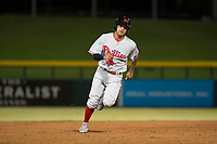 Scottsdale Scorpions third baseman Arquimedes Gamboa (7), of the Philadelphia Phillies organization, jogs towards third base during an Arizona Fall League game against the Mesa Solar Sox at Sloan Park on October 10, 2018 in Mesa, Arizona. Scottsdale defeated Mesa 10-3. (Zachary Lucy/Four Seam Images)