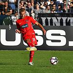 10.08.2019, Donaustadion, Ulm, GER, DFB Pokal, SSV Ulm 1846 Fussball vs 1. FC Heidenheim, <br /> DFL REGULATIONS PROHIBIT ANY USE OF PHOTOGRAPHS AS IMAGE SEQUENCES AND/OR QUASI-VIDEO, <br /> im Bild Timo Beermann (Heidenheim, #33)<br /> <br /> Foto © nordphoto / Hafner