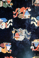 World Civilization:  Andean textiles--Alpaca wool mantel of the Coastal Paracas Culture, c. 600 B.C. with floating or flying figures carrying baton or spear in one hand, pan in other.  Brian Fagan, KINGDOMS OF GOLD.