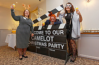 Pictured L-R: Lottery winners Karen Maddock 51, from Bristol, Matt Evans, 38 from Barry and Tina Burgess, 55 from Bristol.  Wednesday 28 November 2018<br /> Re: National Lottery millionaires from south Wales and the south west of England have hosted a glitzy Rat Pack-inspired Christmas party for an older people's music group at The Bear Hotel in Cowbridge, Wales, UK.
