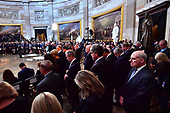 White House Chief of Staff John Kelly (R) stands with fellow administration officials and quests during the memorial service for Sen. John McCain, R-Ariz., in the Capitol Rotunda where he will lie in state at the U.S. Capitol, in Washington, DC on Friday, August 31, 2018. McCain, an Arizona Republican, presidential candidate, and war hero, died August 25th at the age of 81. He is the 31st person to lie in state at the Capitol in 166 years. Photo Ken Cedeno/UPI