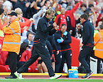 Jurgen Klopp manager of Liverpool celebrates the first goal during the Premier League match at Anfield Stadium, Liverpool. Picture date: September 10th, 2016. Pic Simon Bellis/Sportimage