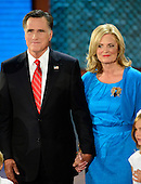 Mitt Romney, Republican nominee for President of the United States appears with his wife, Ann, on the podium at the 2012 Republican National Convention in Tampa Bay, Florida on Thursday, August 30, 2012.  .Credit: Ron Sachs / CNP.(RESTRICTION: NO New York or New Jersey Newspapers or newspapers within a 75 mile radius of New York City)