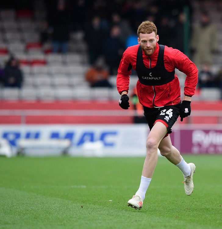 Lincoln City's Cian Bolger during the pre-match warm-up<br /> <br /> Photographer Chris Vaughan/CameraSport<br /> <br /> The EFL Sky Bet League Two - Lincoln City v Grimsby Town - Saturday 19 January 2019 - Sincil Bank - Lincoln<br /> <br /> World Copyright &copy; 2019 CameraSport. All rights reserved. 43 Linden Ave. Countesthorpe. Leicester. England. LE8 5PG - Tel: +44 (0) 116 277 4147 - admin@camerasport.com - www.camerasport.com