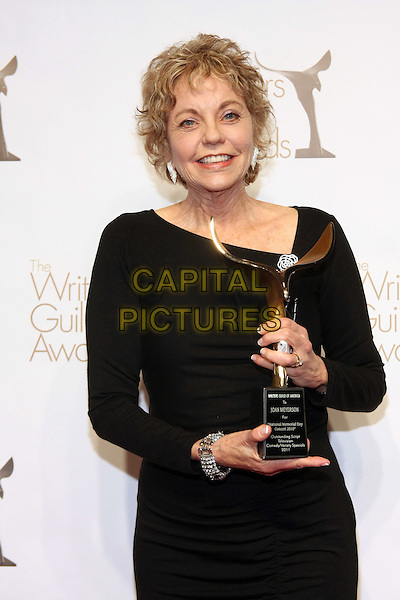 JOAN MEYERSON .The 2011 Writers Guild Awards - Press Room held at Renaissance Hollywood Hotel, Los Angeles, California, USA,.5th February 2011.half length black  dress award trophy .CAP/ADM/TB.©Tommaso Boddi/AdMedia/Capital Pictures.