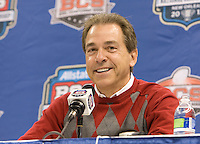 Alabama head coach Nick Saban smiles while talking with the reporters during BCS Media Day at Mercedes-Benz Superdome in New Orleans, Louisiana on January 6th, 2012.